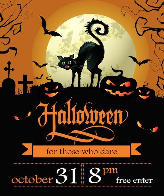 Letras de halloween con fecha, gato bruja, calabazas y luna. vector gratuito
