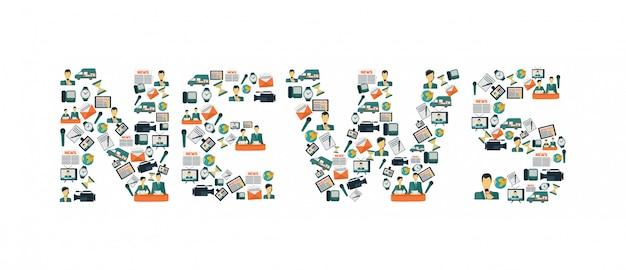 Letras de iconos de noticias vector gratuito