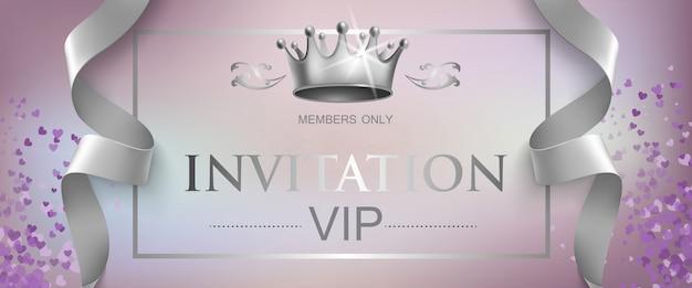 Letras de invitación vip con corona de plata vector gratuito
