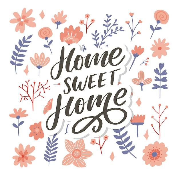 Letras de mano 'hogar dulce hogar', lema de ilustración de caligrafía de palabras de texto Vector Premium