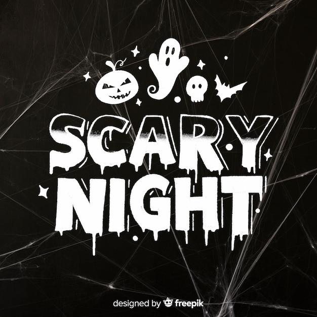 Letras de miedo noche con fantasma vector gratuito