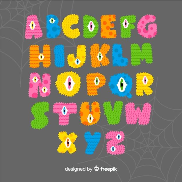 Letras del monstruo del alfabeto de halloween vector gratuito