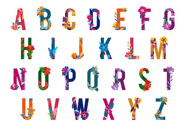 Letras con motivos florales vector gratuito