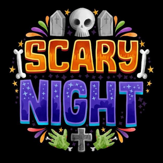 Letras de la noche de miedo vector gratuito
