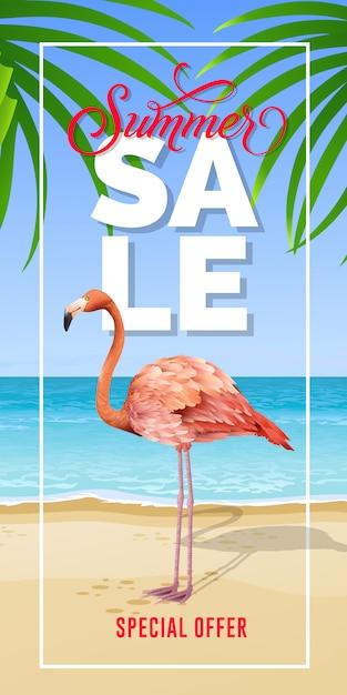 Letras de oferta especial de venta de verano en marco con playa de mar y flamenco. vector gratuito
