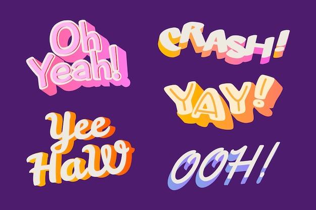 Letras de onomatopeyas en estilo retro vector gratuito