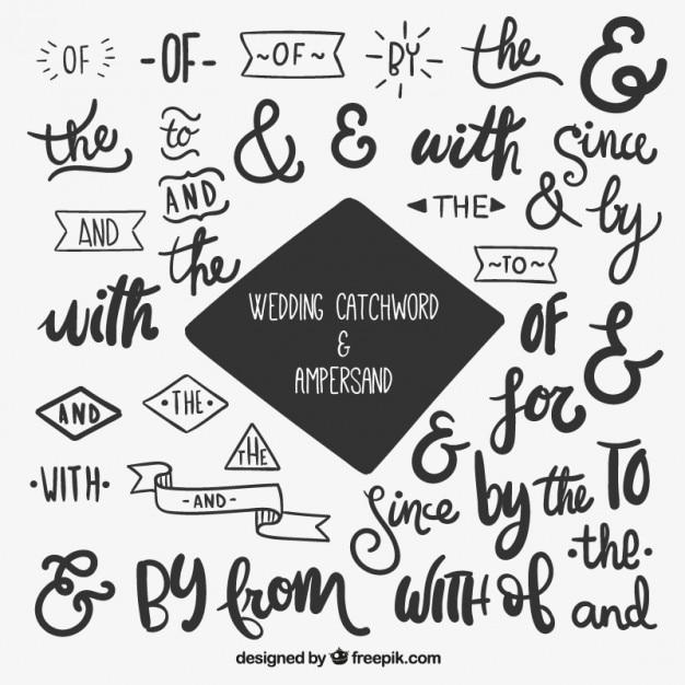 Letras para boda y ampersand Descargar Vectores gratis
