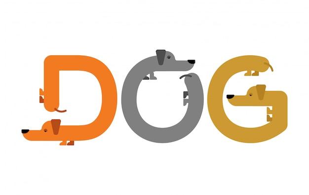 Letras de perro. tipografía dachshund. cartas de animales de origen. mascota del alfabeto Vector Premium