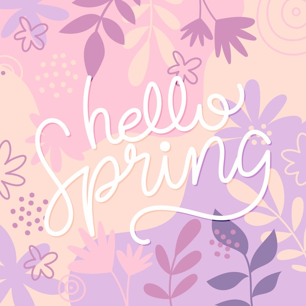 Letras de primavera con flores de colores dibujados vector gratuito