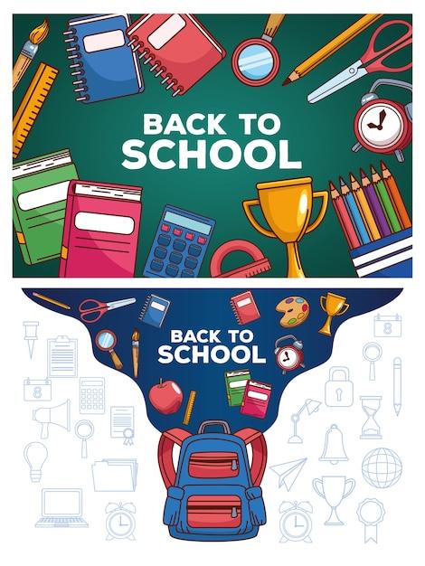 Letras de regreso a la escuela en pizarra con mochila y útiles Vector Premium