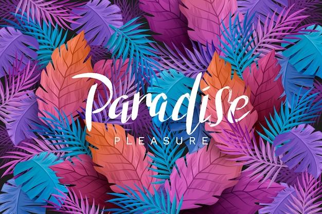 Letras tropicales con hojas y flores. vector gratuito