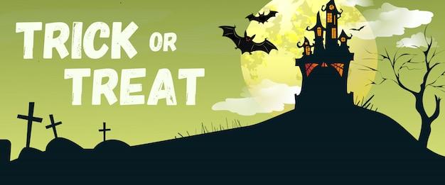 Letras de truco o trato con castillo y murciélagos. vector gratuito