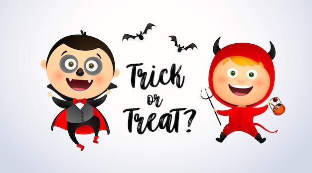 Letras de truco o trato con niños con disfraces de drácula y demonio vector gratuito