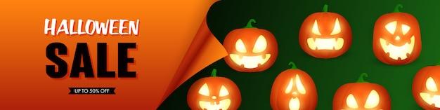 Letras de venta de halloween con linternas de jack o vector gratuito