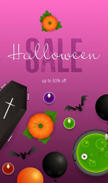 Letras de venta de halloween, murciélagos, calabazas y pociones en caldero vector gratuito