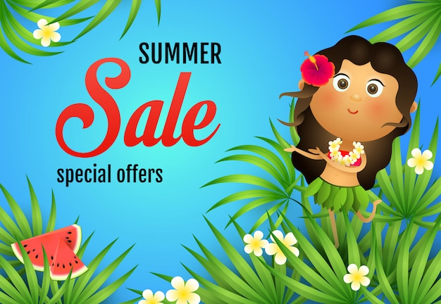 Letras de venta de verano, mujer aborigen, sandia y plantas. vector gratuito