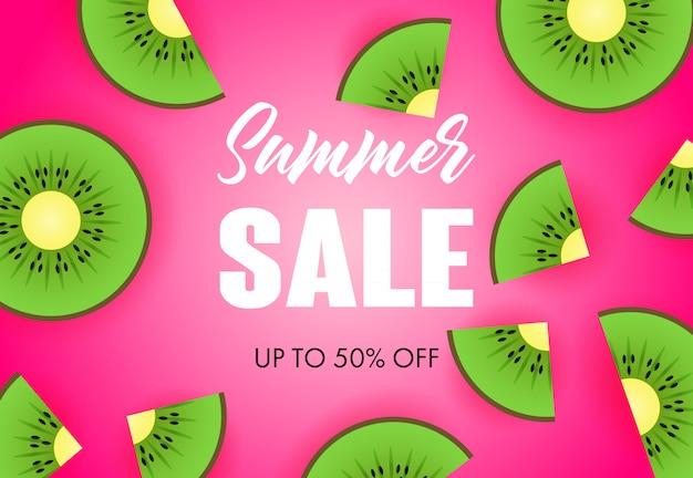 Letras de venta de verano con rodajas de kiwi vector gratuito