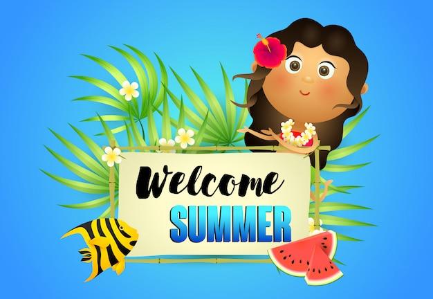 Letras de verano de bienvenida con mujer aborigen y sandía. vector gratuito