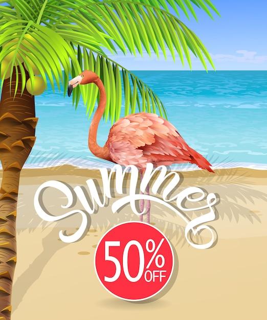Letras de verano con playa de mar y palmera y flamenco. oferta de verano vector gratuito
