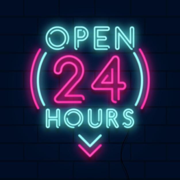 Letrero de neón 'abierto las 24 horas' vector gratuito
