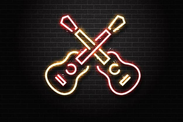 Letrero de neón aislado realista del logotipo de la guitarra para la decoración de la plantilla en el fondo de la pared. Vector Premium
