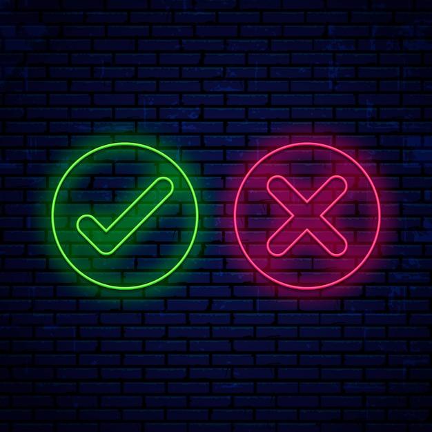 Letrero de neón brillante, marcas de verificación, iconos de forma redonda aislado en la pared Vector Premium