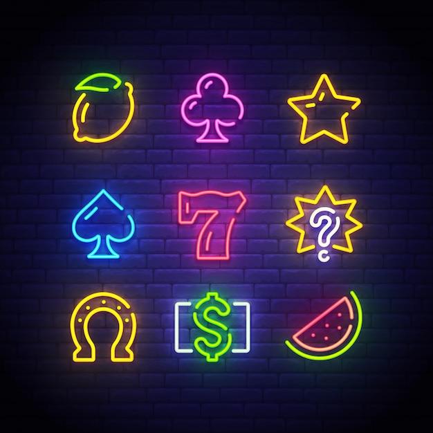 Letrero de neón del casino Vector Premium