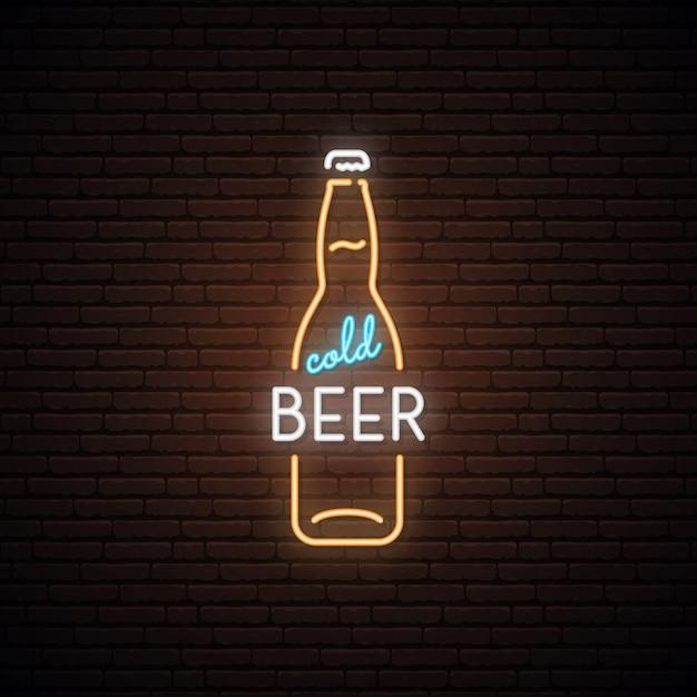 Letrero de neón de cerveza fría. Vector Premium