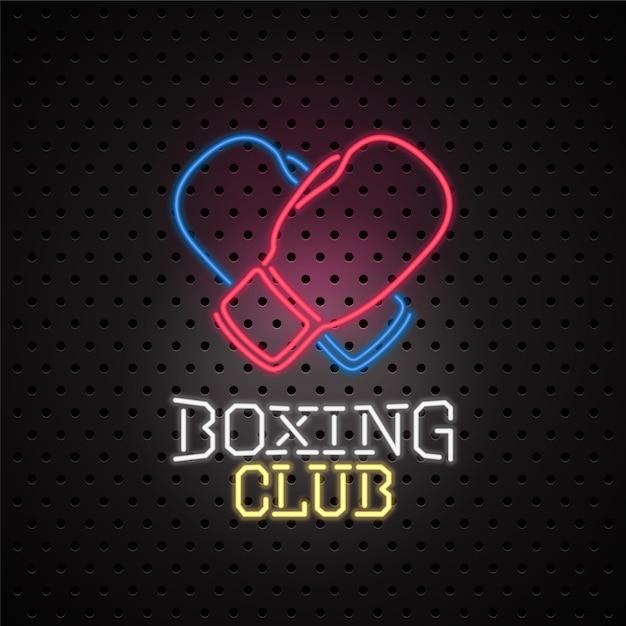 Letrero de neón para el emblema del club de boxeo Vector Premium