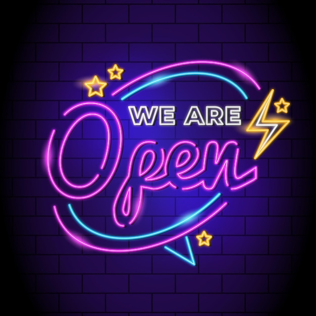 Letrero de neón 'estamos abiertos' Vector Premium