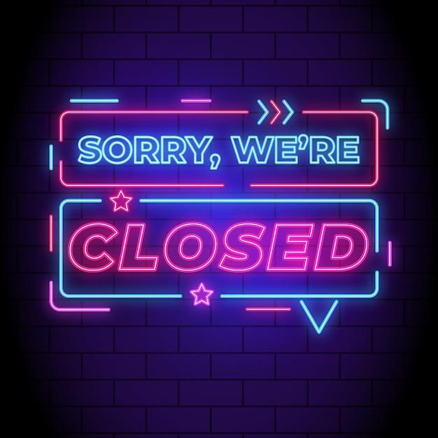 Letrero de neón 'lo siento, estamos cerrados' Vector Premium