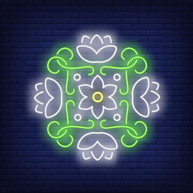 Letrero de neón mandala floral redondo. vector gratuito