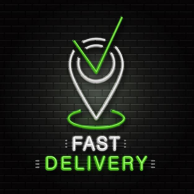 Letrero de neón de pin de mapa para decoración en el fondo de la pared. logotipo de neón realista para un servicio de entrega rápido. concepto de profesión de logística, transporte y mensajería. Vector Premium