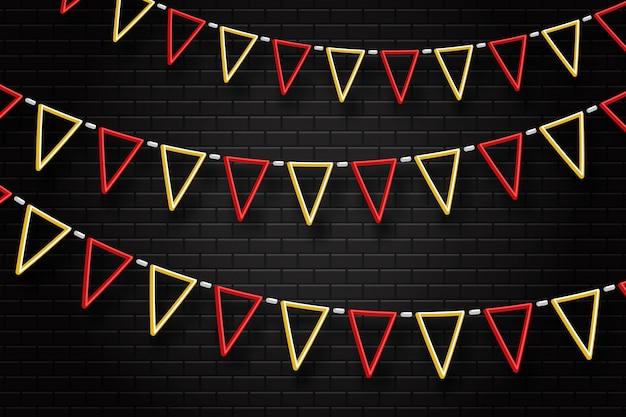 Letrero de neón realista de banderas de fiesta para decoración y revestimiento en el fondo transparente. concepto de cumpleaños, vacaciones y celebración. Vector Premium