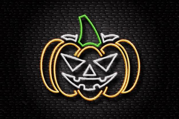 Letrero de neón realista de calabaza para decoración y revestimiento en el fondo de la pared. concepto de feliz halloween. Vector Premium
