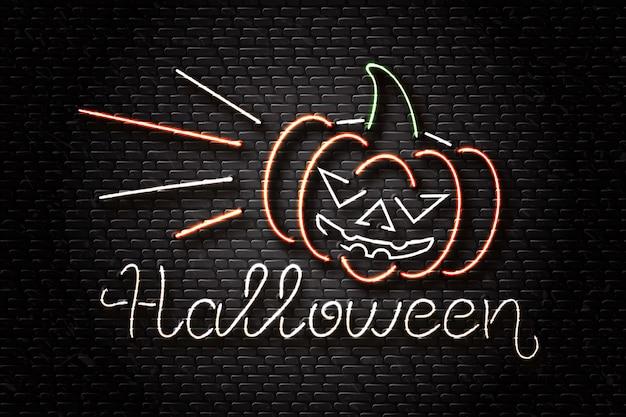 Letrero de neón realista de letras de halloween y calabaza malvada para decoración y revestimiento en el fondo de la pared. concepto de feliz halloween. Vector Premium