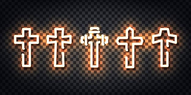 Letrero de neón realista del logotipo de la cruz para la decoración de la plantilla y el diseño que cubre el fondo transparente. Vector Premium