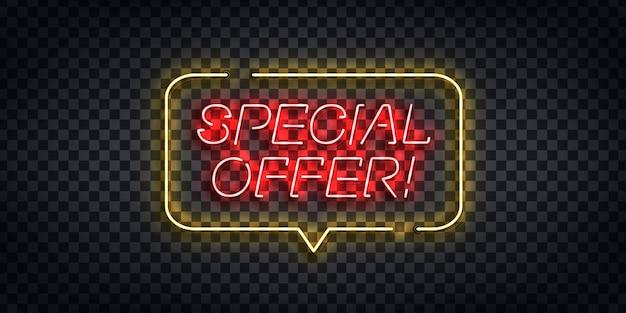 Letrero de neón realista del logotipo de oferta especial para decoración de plantilla y revestimiento en el fondo transparente. concepto de comercio electrónico y compras online. Vector Premium
