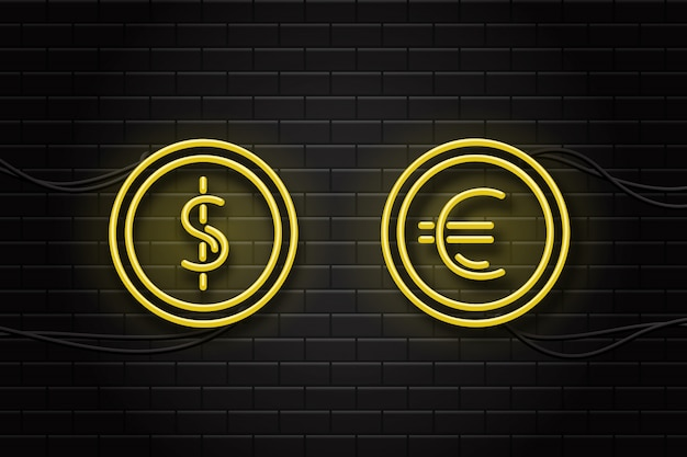 Letreros de neón realistas de moneda dólar y euro en el fondo de la pared para decoración y revestimiento. Vector Premium