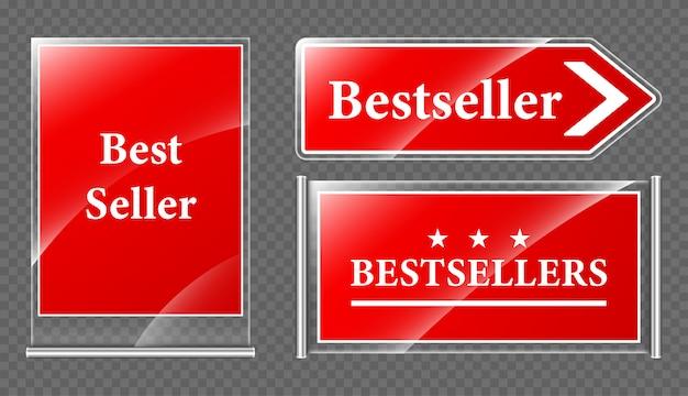 Letreros de oferta de best seller vector gratuito