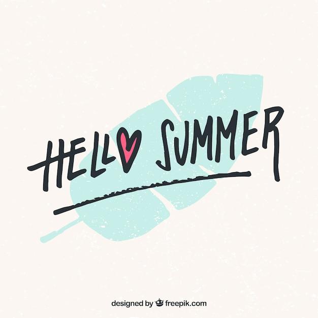 Lettering de hola verano con hoja en estilo hecho a mano | Descargar ...