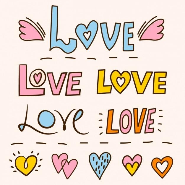 Lettering Con La Palabra Amor Vector Gratis