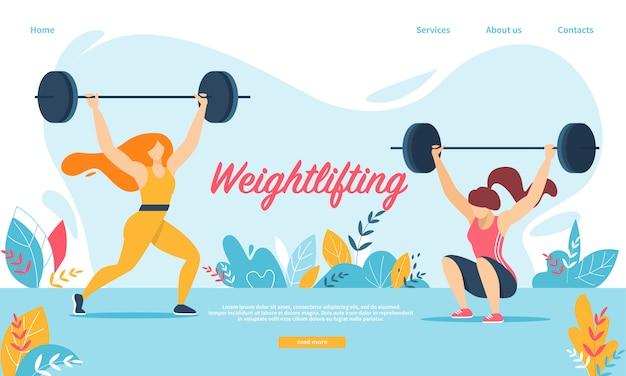 Levantamiento de pesas deporte. mujeres en cuclillas con peso Vector Premium