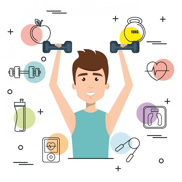 Levantamiento de pesas de hombre con iconos de deportes vector gratuito