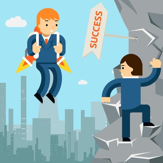 Levántate hacia el éxito. hombre de negocios con cohete y hombre subiendo por el acantilado. vector gratuito