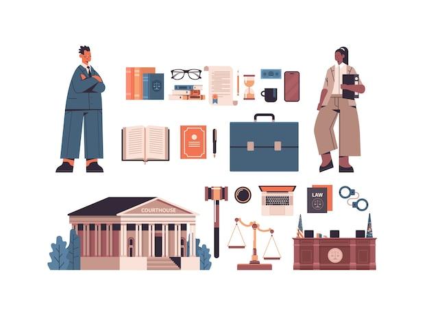 Ley y justicia establecen mezcla raza hombre mujer abogados e iconos colección horizontal de longitud completa aislado ilustración vectorial Vector Premium
