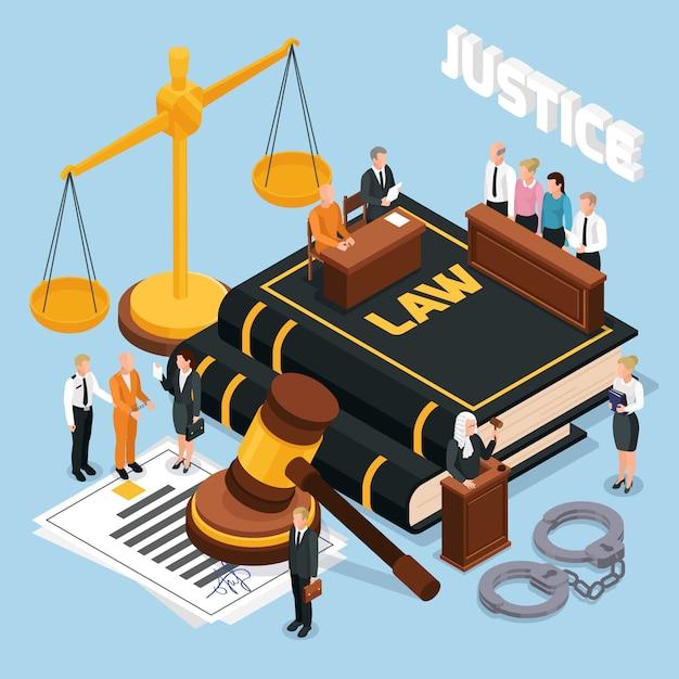 Ley justicia jurado juicio procedimientos judiciales composición isométrica con equilibrio de martillo juez acusado ilustración policial vector gratuito
