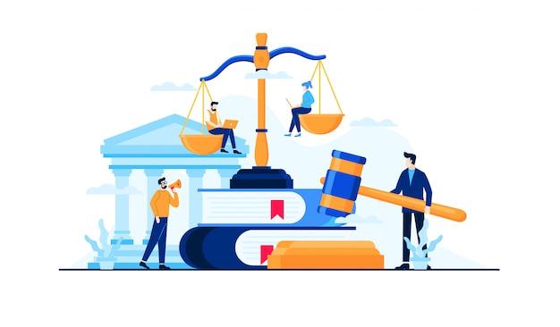 Ley y legal ilustración plana Vector Premium