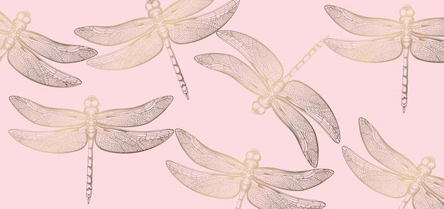 Libélula dorada patrón línea arte. textura decoraciones brillantes Vector Premium