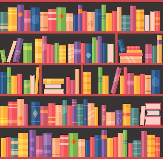 Librería o estantería con libros, biblioteca de la universidad o sala de bibliotecario escolar, fondo vectorial. Vector Premium